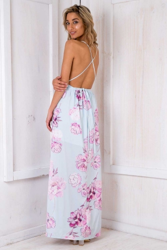 Agnes Floral Maxi Dress - Light Blue Floral