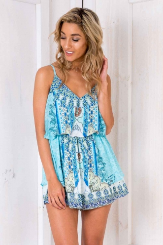 Let It Be Playsuit - Light Blue Print