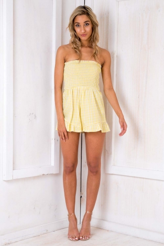 Chocolate Letter Playsuit - Yellow/ White Chequered