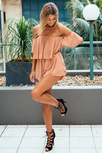 Laura playsuit - Tan spot