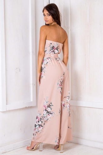 Party Nights Jumpsuit - Beige Floral