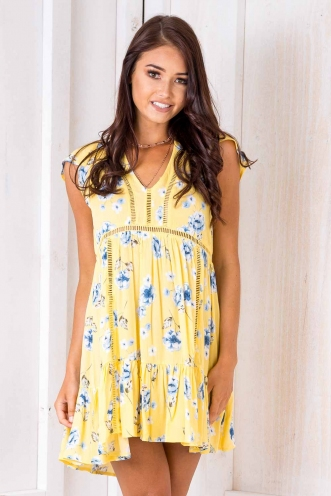 Flapjack Dress - Yellow Floral