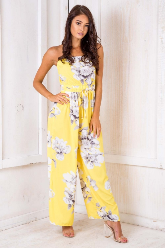857b54d1778c Party Nights Jumpsuit - Yellow Floral SALE - Stelly