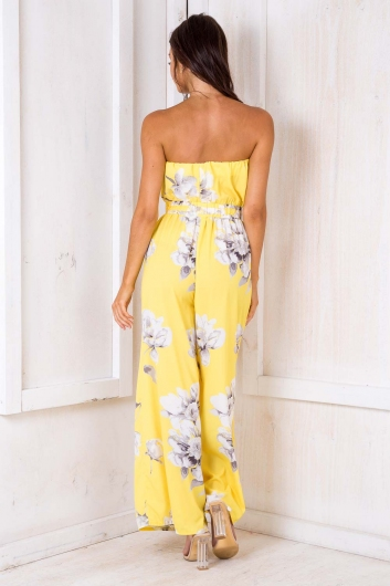 Party Nights Jumpsuit - Yellow Floral