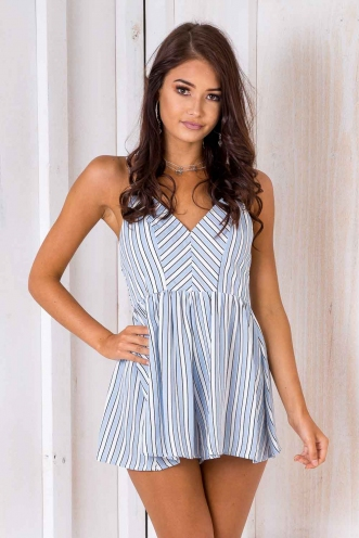 Yolanda Playsuit - Blue/White Stipe