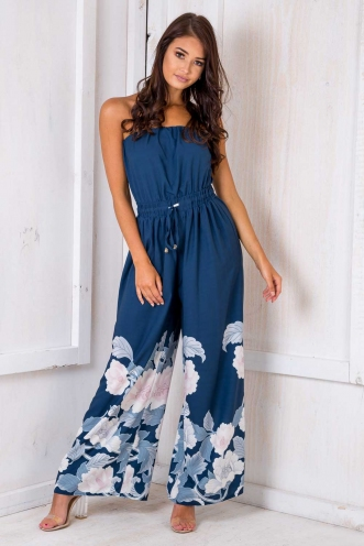 Party Nights Jumpsuit - Navy Floral