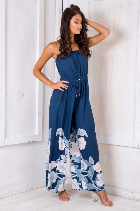 633d5136c8a4 Party Nights Jumpsuit - Navy Floral SALE - Stelly