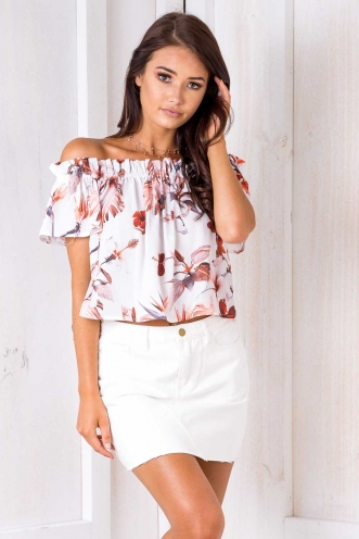 Tweety Top - White Floral
