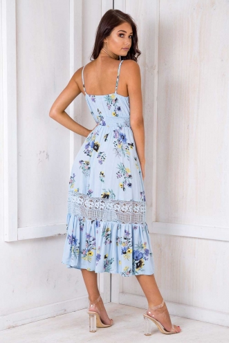 Spring Has Sprung Dress - Blue Floral