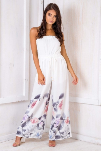 Catalina Jumpsuit - White Pattern