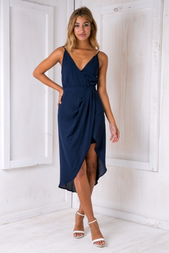 Livvy drape dress - Navy