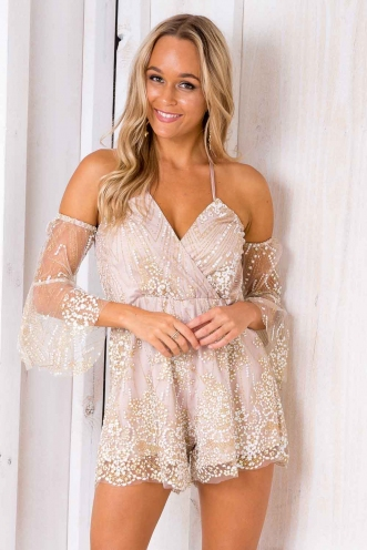 Melissa Playsuit - Blush sequin