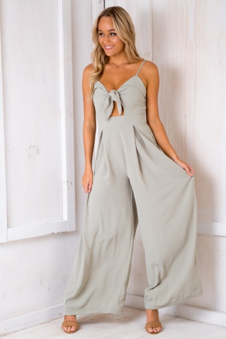 How Deep Is Your Love Jumpsuit - Light Khaki