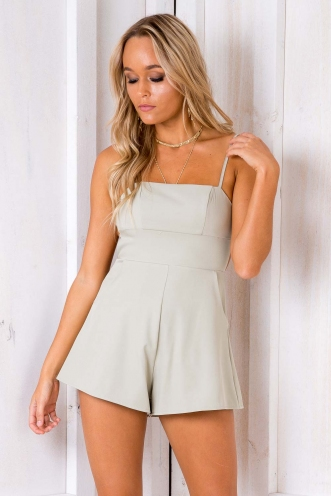 You Light Up My Life Playsuit - Light Khaki