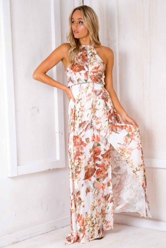 Rosie Floral Maxi Dress - White Print