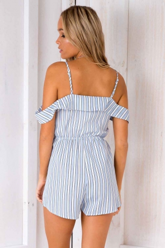 Opal Playsuit - Blue/ White Stripe