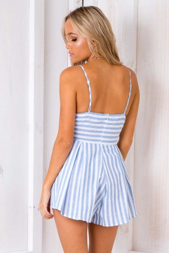 Want You Back Playsuit - Blue/ White Stripe