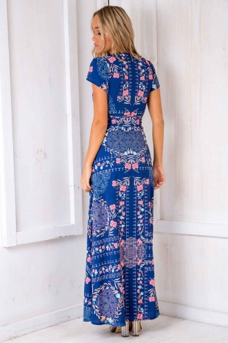 Born Free Maxi Dress - Blue Floral