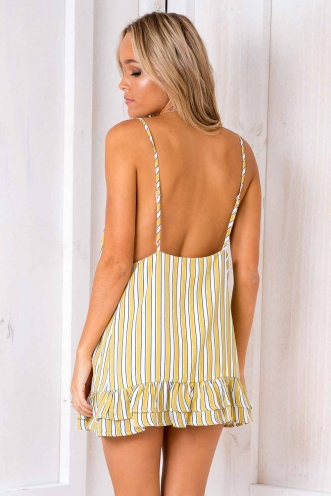 Mini Doughnut Cupcake Dress - Mustard/ White Stripe