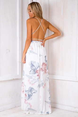 Agnes Floral Maxi Dress - White Botanic