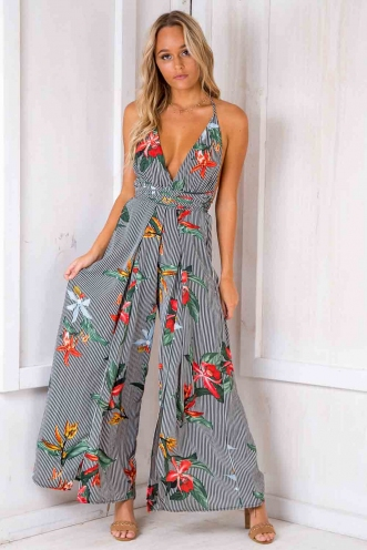 Plum Cake Jumpsuit - Black/ White Stripe Floral