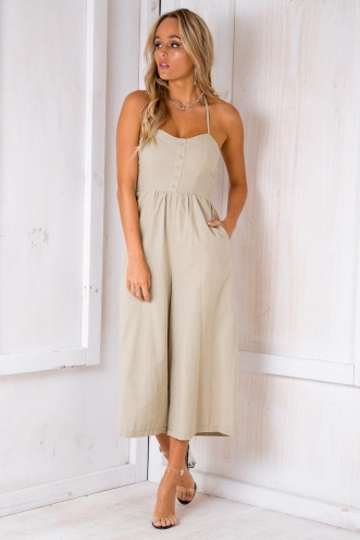 Cool For The Summer Jumpsuit - Light Khaki