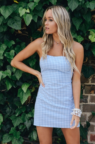 Tiana Dress - Blue/ White Chequered