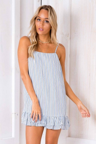 Mini Doughnut Cupcake Dress - Blue/ White Stripe