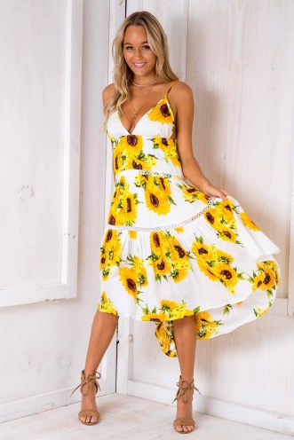 She Looks So Perfect Dress - Sunflower Print