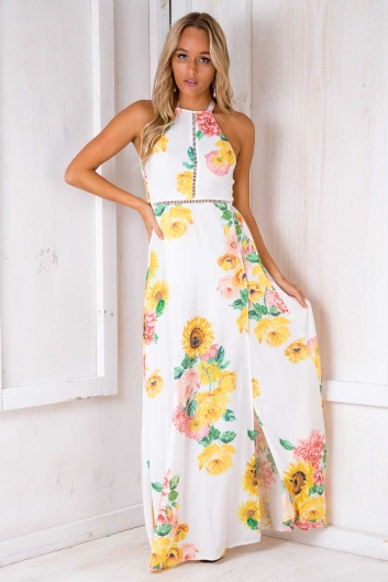 48e426dd9488 Rosie Floral Maxi Dress - White Design-SALE - Stelly