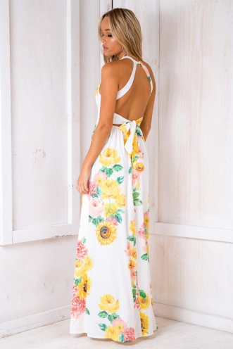 Rosie Floral Maxi Dress - White Design