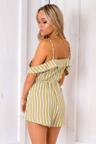 Opal Playsuit - Mustard/ White Stripe