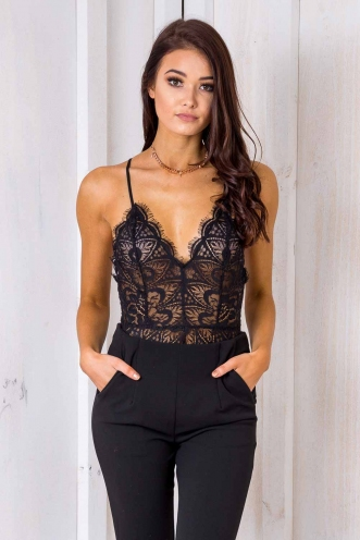 Lovey lace bodysuit - Black