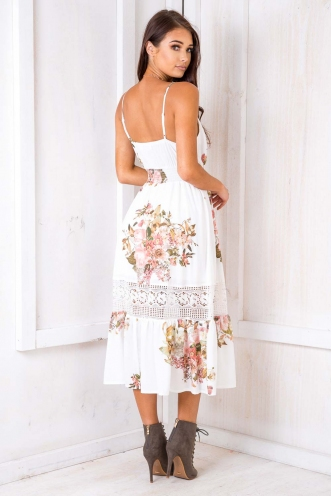 Spring Has Sprung Dress- White Floral