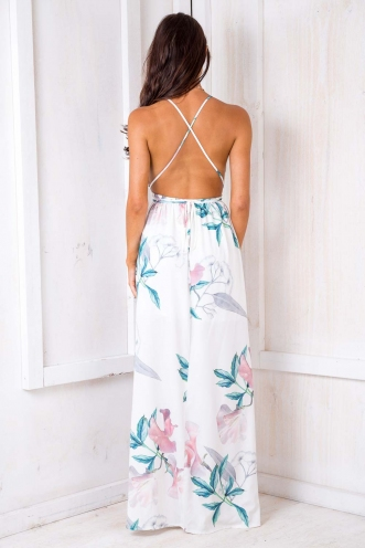 Agnes Floral Maxi Dress - White Edition