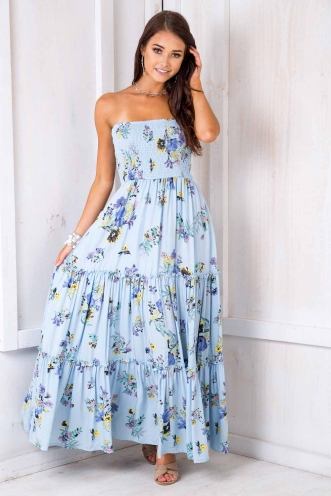 Raise Your Glass Dress - Blue Floral