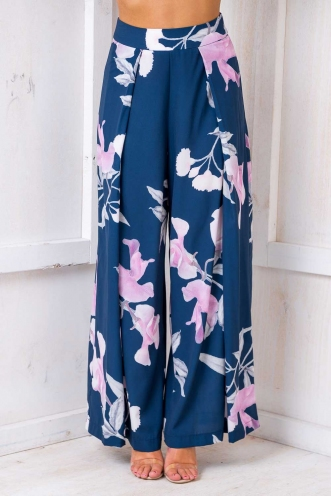 Tropical Getaway Pants - Navy Print