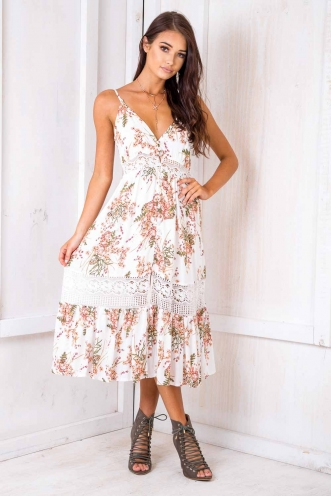 Spring Has Sprung Dress- White Print