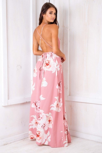 Agnes Floral Maxi Dress - Blush Design