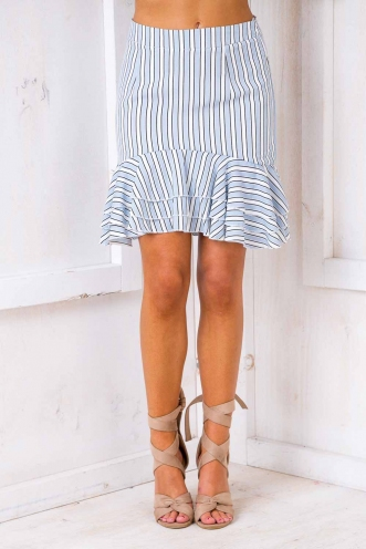 Part Of Me Skirt - Blue/ White Stripe