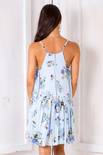 Percy Dress - Light Blue Floral
