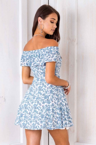 When I Grow Up Dress - White/ Blue Floral