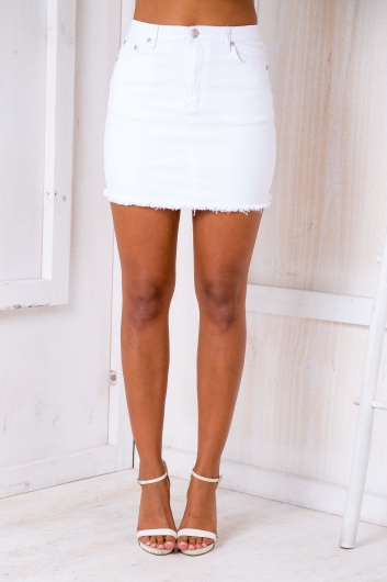 Poppy Denim Skirt White Stelly