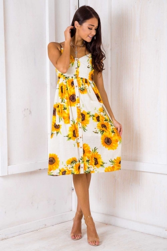 The Tide Is High Dress - Sunflowers Print