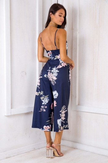 A Moment Like This Jumpsuit - Navy Floral
