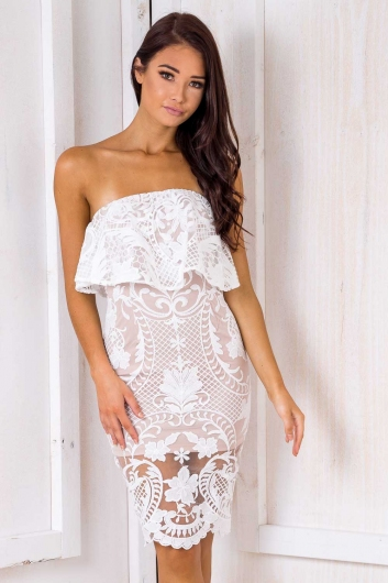Life Is A Highway Dress - Nude/ White Lace
