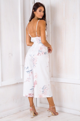 A Moment Like This Jumpsuit - White Floral