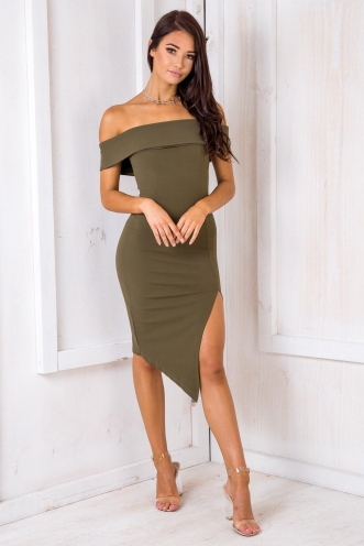 Renata Off The Shoulder Dress - Khaki