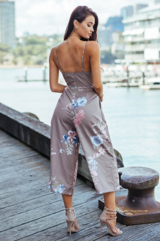A Moment Like This Jumpsuit - Khaki Floral