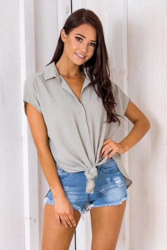 Rom Com Tie Up Top - Light Khaki